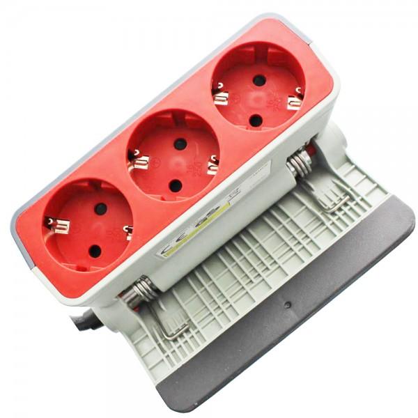3fach Steckdosenleiste zur Klemmbefestigung die Schutzkontakt-Steckdose mit der integrierten Kindersicherung