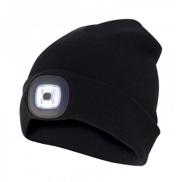 Mütze mit LED-Frontleuchte, Strickmütze mit LED-Licht ideal zum Joggen, Campen, Arbeiten, Spazieren etc., wiederaufladbar per USB und waschbar, schwarz