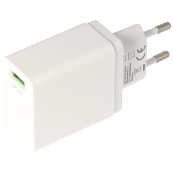 USB-Schnellladegerät QC3.0 18W, Quick Charge USB-Netzteil, weiß