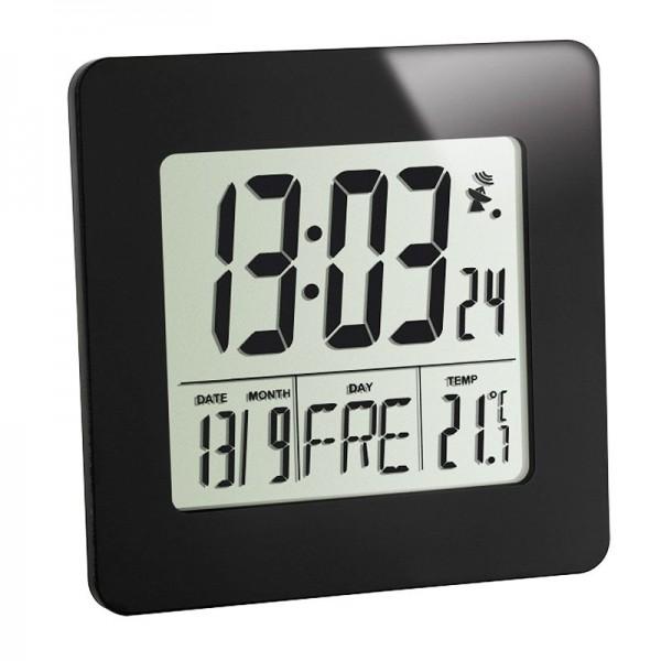 Design Funk-Wecker Digital mit sehr hoher Genauigkeit, schwarz mit Innentemperatur, inklusive Batterie
