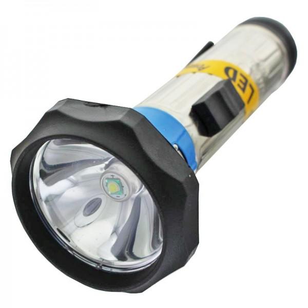 klassische Metall Stabtaschenlampe 149 x 60mm mit LED für 2 Stück Baby LR14 Batterien