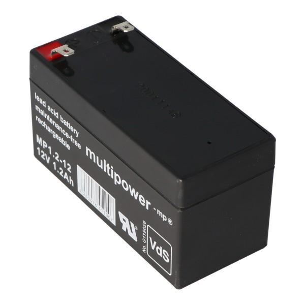 Multipower MP1.2-12 Blei Akku mit 4,8mm Faston Steckkontakten