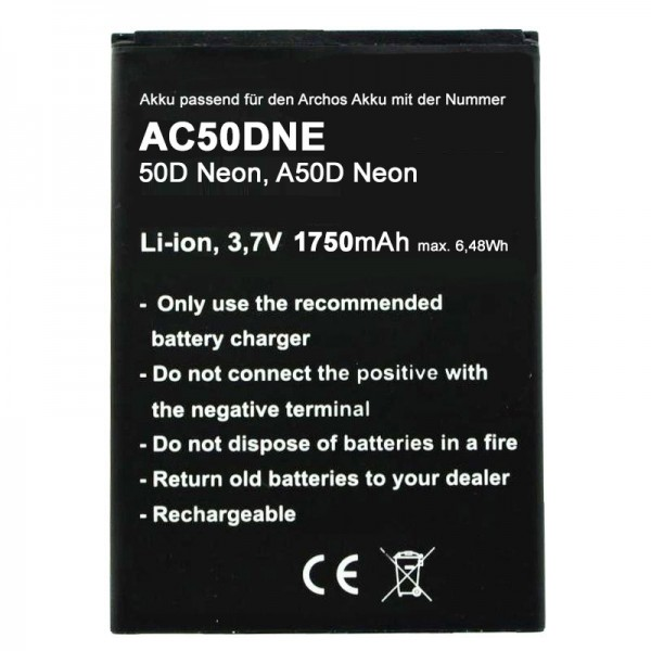 Akku nur passend für den Archos AC50DNE Akku 1750mAh, Archos 50D Neon, A50D Neon max. 6.48Wh, BM-09