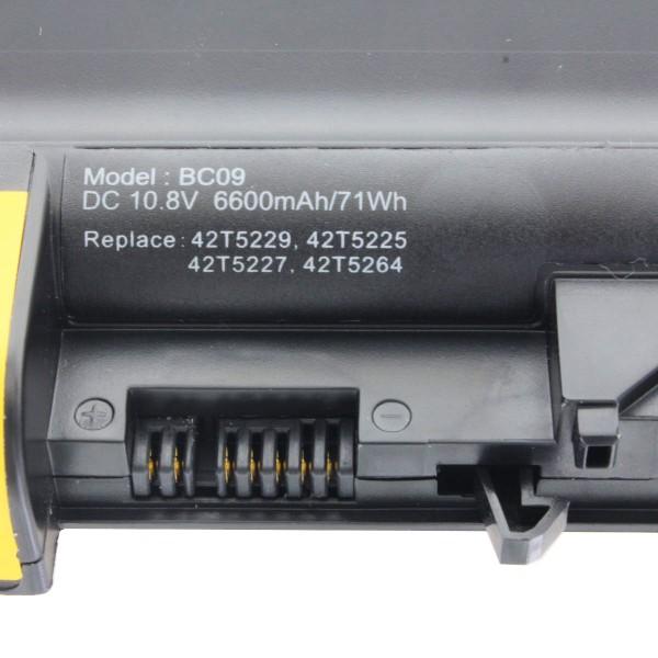 Akku nur passend für Lenovo Thinkpad R61 Serie, R500 Serie, T61 Serie 6600mAh (Bild unbedingt exakt vergleichen)