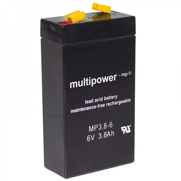 Multipower MP3.8-6 Akku WP3.2-6 Blei 3,8Ah mit 4,8mm Fastonkontakt
