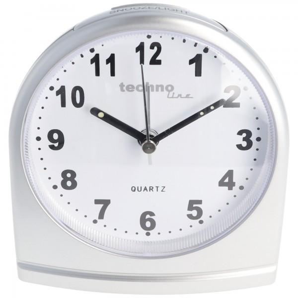 Quartz Wecker silber mit weissem Ziffernblatt, ohne Ticken, silent movement Quartz Alarm clock