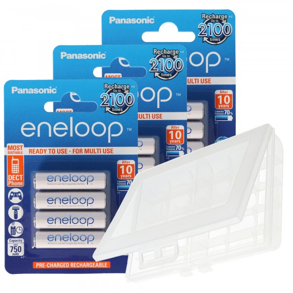 12er Panasonic eneloop Standard AAA, Micro Akkus, neueste Generation, max. 800mAh, 2100 Ladezyklen mit AccuCell BOX10 AKTION 10+2 !