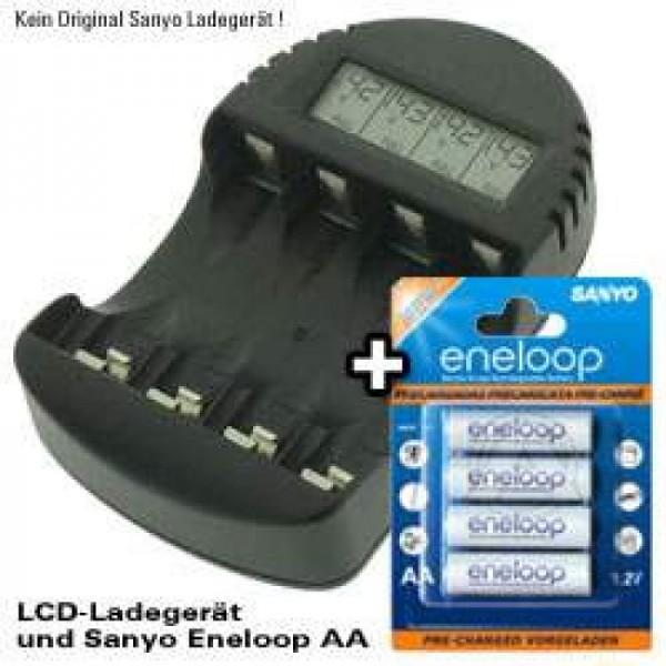 Schnell-Ladegerät mit LCD Display und 4 Stück Panasonic eneloop Standard AA HR-3UTGB