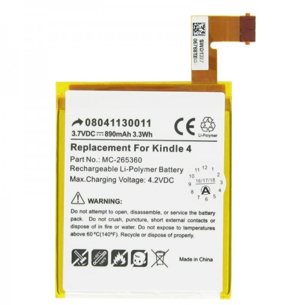 Akku passend für Amazon Kindle 4, Kindle 4G, Kindle 5 und Kindle 6 Akku 515-1058-01 3,7 Volt min. 750mAh