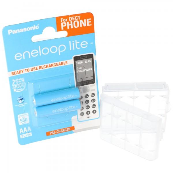 2er Panasonic eneloop Phone Lite Micro Akku BK-4LCCE/2DE NiMH 1,2V / 600mAh Akku für DECT Telefon inkl. AccuSafe AAA