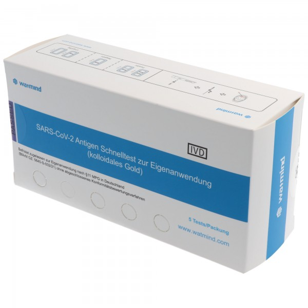 5 Watmind Lolli-Test COVID-19 Laientest (Speicheltest) mit BfArM-Sonderzulassung, Coronavirus (SARS-Cov-2) Antigen Schnelltest, kein PCR