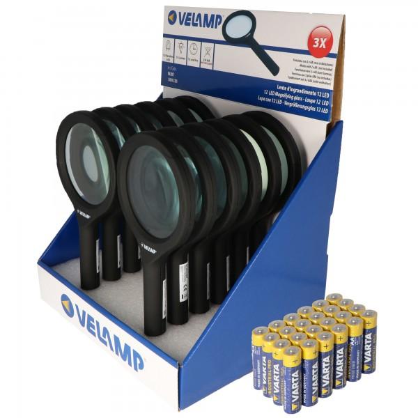 Thekendisplay bestehend aus 12 Lupen mit LED-Beleuchtung und 3fach Vergrößerung mit 12 LEDs, IN287, ideal geeignet zum Lesen von Zeitungen, Zeitschriften, Bücher, Karten etc. inklusive Batterien