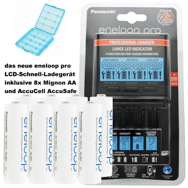 Panasonic eneloop Ladegerät BQ-CC65 inkl. LCD-Display, 8 eneloop AA Mignon und AccuCell Akkubox Blue