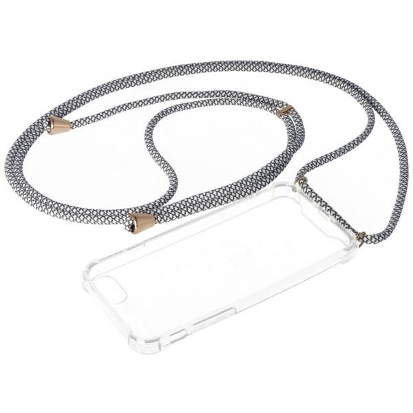 Necklace Case passend für Apple iPhone 7, iPhone 8, Smartphonehülle mit Kordel grau,weiß zum Umhängen