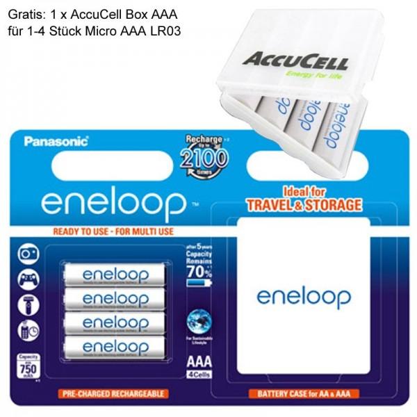 AAA Panasonic eneloop Standard Micro BK-4MCCEC4BE 800mAh 4 Stück inkl. eneloop Case und AccuCell AkkuSafe AAA
