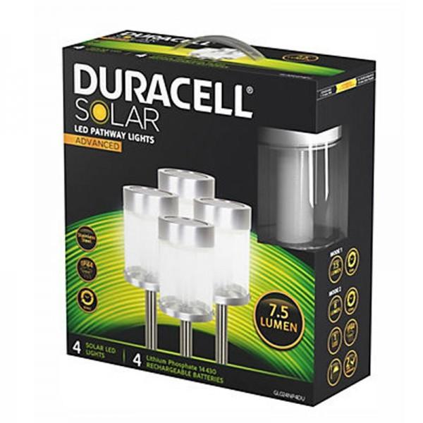 4er Set Duracell LED Solar-Wegeleuchte mit bis zu 7,5 Lumen, rostfreier Edelstahl, mit Lithium Akku