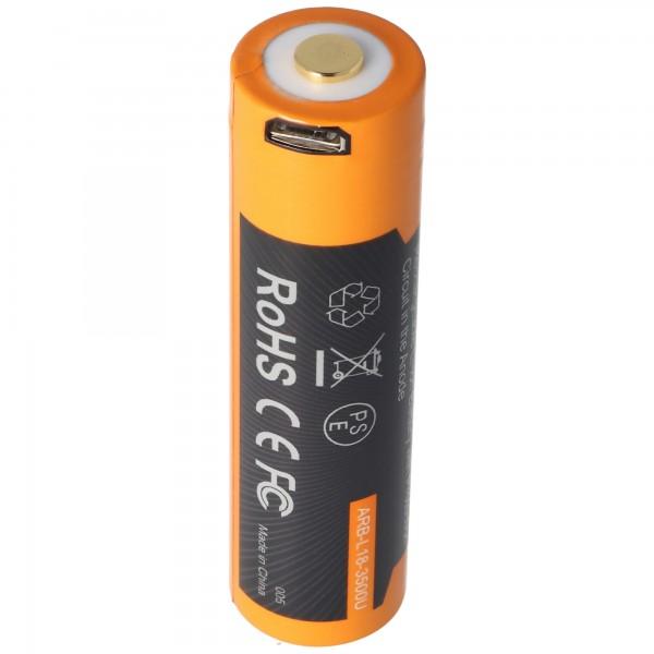 Li-Ion Akku 18650, 3500mAh geschützt mit USB Ladefunktion, 70x18,6mm, mit AccuSafe