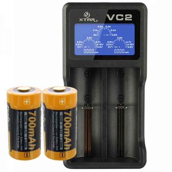 2 Stück CR123A Li-Ion Akku mit bis zu 760mAh und USB-Ladegerät mit großem Display, mit bis zu 0,5Ah Ladestrom