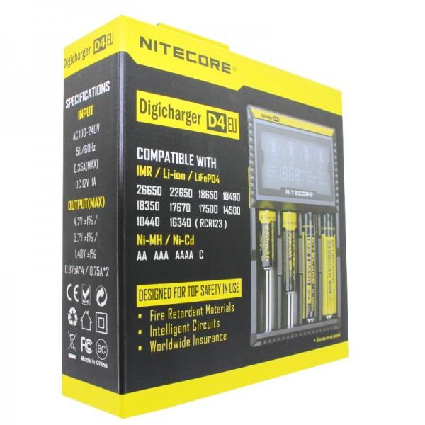 NiteCore Ladegerät Digicharger D4 EU mit Display für AAA, AA, C