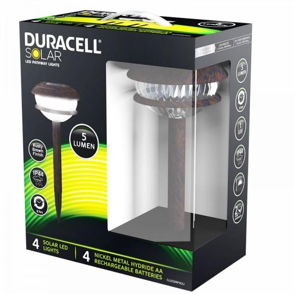 4er Set Duracell LED Solar Gartenlampe mit bis zu 5 Lumen mit NiMH AA Akku