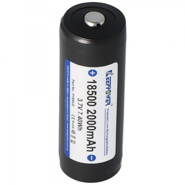 Keeppower 18500 - 2000mAh, 3,6V - 3,7V Li-Ion-Akku geschützt
