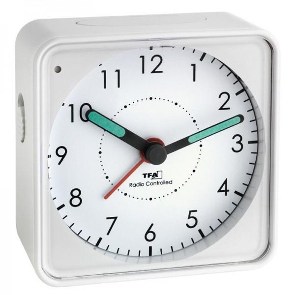 Funk-Wecker Analog mit leisem Uhrwerk, Snooze, weiss inklusive Batterie