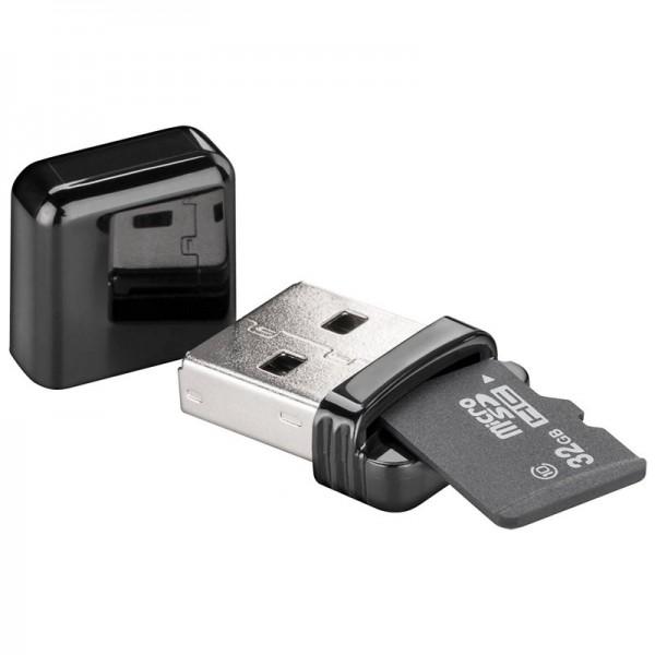 Kartenlesegerät USB 2.0 zum Lesen von Micro SD und SD Speicherkartenformaten, liest Micro SD, SDHC, SDXC und T-Flash Serie Speic