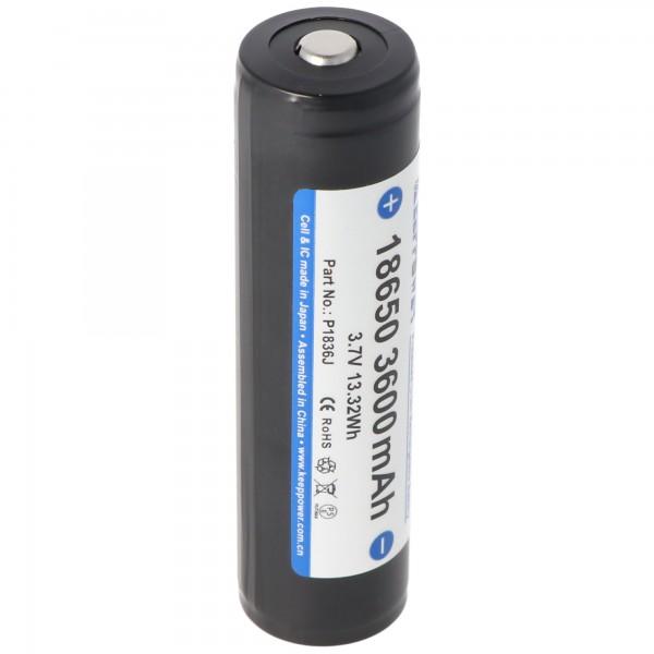 Keeppower 18650 Li-Ion Akku mit 3600mAh 3,7 Volt mit Schutzelektronik 69,12x18,65x18,65mm