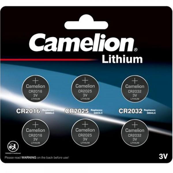 Set bestehend aus je 2 Stück Lithium CR2032, CR2025 und CR2016, bis zu 10 Jahre lagerfähig