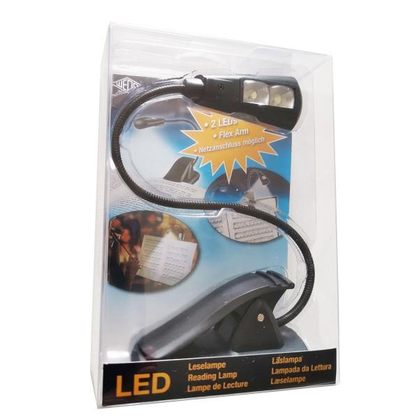 WEDO LED-Leselampe mit Clip 2 LEDs mobil schwarz