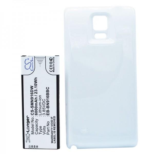 Akku mit Zusatzdeckel weiß passend für Galaxy Note 4 Akku EB-BN916BBC 6000mAh, 97.90 x 39.56 x 11.30mm