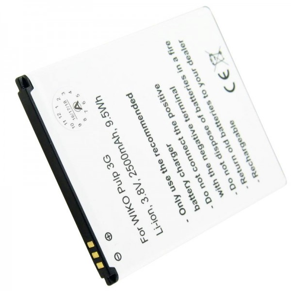 Nachbau Akku passend für den Wiko Pulp 3G Akku 5251, Abmessungen 76.95 x 59.95 x 4.20mm