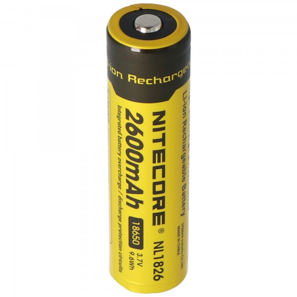NiteCore 18650 Li-Ion Akku für LED Taschenlampen NL186 mit 2600mAh, CR18650 18,6x70mm