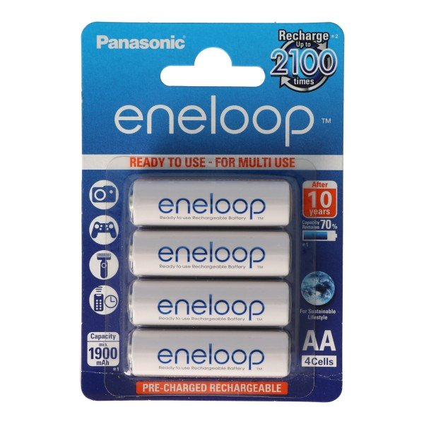 Panasonic eneloop Standard (ehem. Sanyo eneloop Standard) HR-3UTGB 4 Mignon AA eneloop jetzt mit bis zu 1800x Ladezyklen