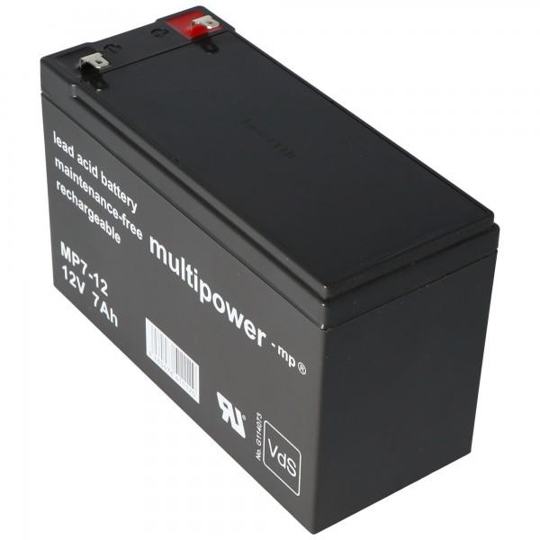 MultiPower MP7-12 Blei Akku mit Faston 4,8 mm 12V, 7000mAh