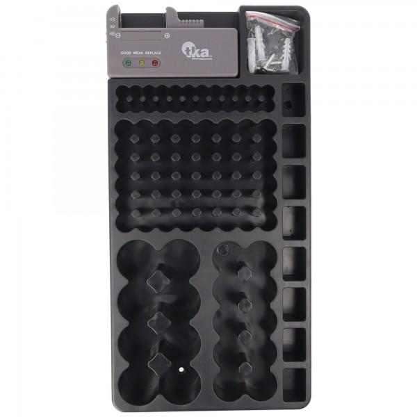 2in1-Batterie-Organizer, Universal Akkubox für 1-110 Akku oder Batterien z.B. Mignon AA LR6, Micro AAA LR03, C, D, 9V