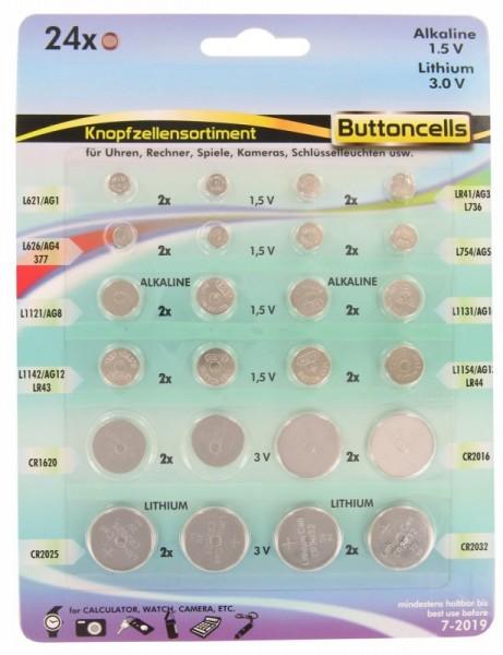 24 Alkaline und Lithium Knopfzellen Batterien sortiert im Set