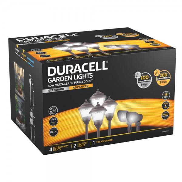 Duracell Garden Light komplett Set bestehend aus 4 Wegeleuchten, 2 LED Leuchtspots und einem Transformator