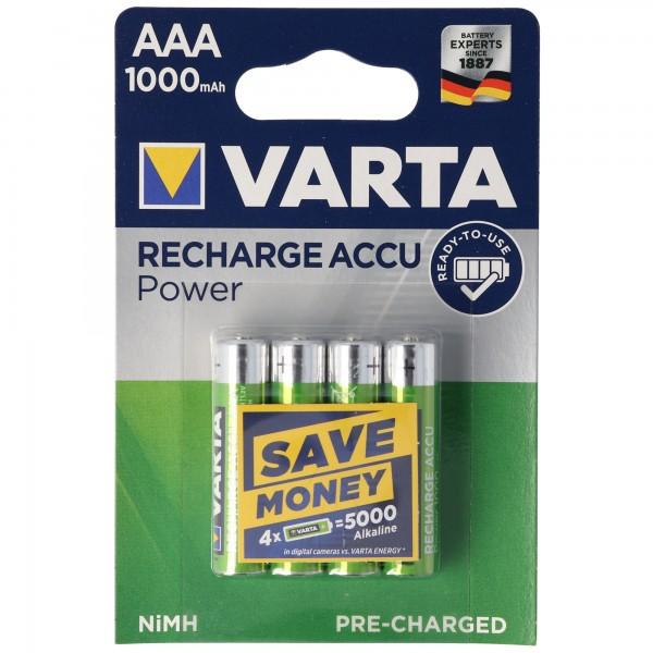 VARTA PROFESSIONAL ACCUS AAA 1000mAh Micro, LR03 4er Blister