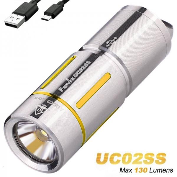 Fenix UC02SS LED schlüsselbundleuchte, mit Akku und Ladekabel, Farbe gold
