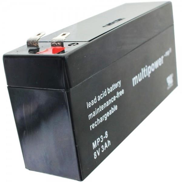 Multipower MP3-8 Blei-Akku 8 Volt 3000mAh mit 2 Faston 4,8mm Steckkontakten