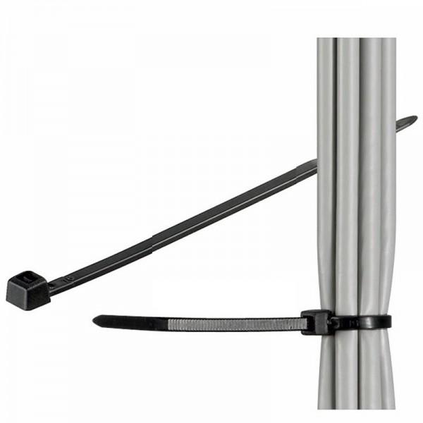 Kabelbinder schwarz aus wetterfestem Nylon, Länge 150mm, 100 Stück