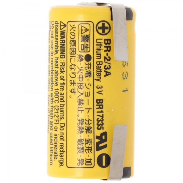 BR-2/3 A Panasonic Lithium Batterie 3,0 Volt mit Lötfahnen in U-Form