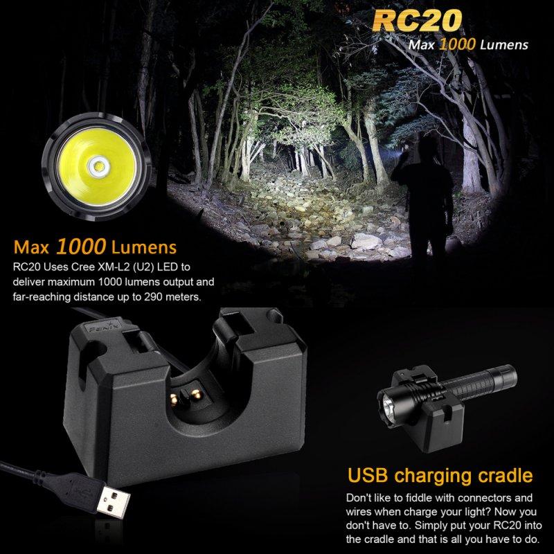 Fenix RC20 LED Taschenlampe mit Li-ion Akku und ...