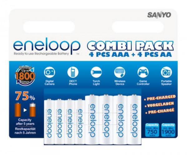 Panasonic eneloop Standard (ehem. Sanyo eneloop Standard) Kombipack inkl. 4x Mignon AA und 4x Micro AAA 1,2V Akkus im Blister