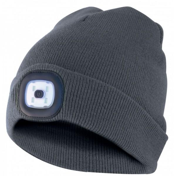 Mütze mit LED-Frontleuchte, Strickmütze mit LED-Licht ideal zum Joggen, Campen, Arbeiten, Spazieren etc., wiederaufladbar per USB und waschbar, dunkelgrau