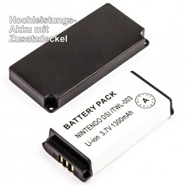 AccuCell Akku passend für Nintendo DSi, BOAMK01, TWL-003 mit zusätzlichem Deckel
