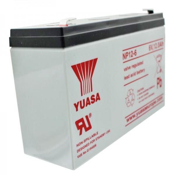 YUASA NP12-6 Akku Blei PB 6 Volt 12Ah mit Faston Steckkontakt 6,3mm breite