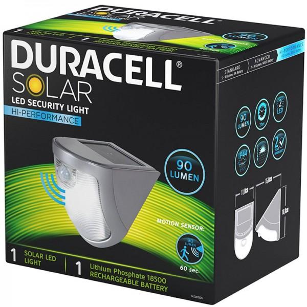 Duracell LED Solar Sicherheitslicht, Wegbeleuchtung mit Bewegungsmelder, bis zu 90 Lumen GL020SDU 1 Stück inklusive Akku