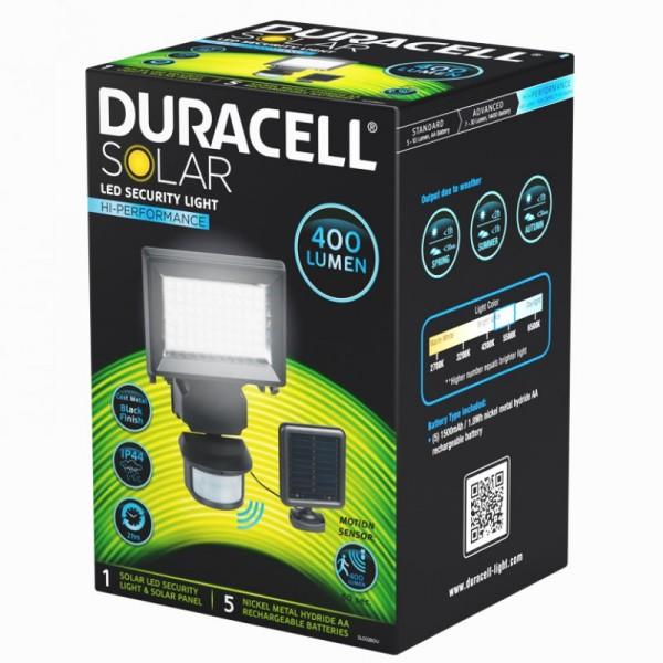 Duracell LED Solar Sicherheitsleuchte, mit externem Solarpanel, bis zu 400 Lumen, inklusive Akkus